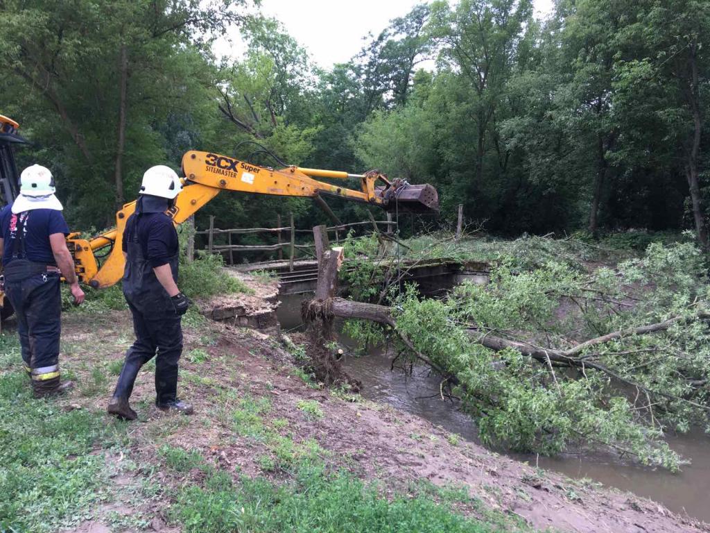 Veszélyes fa eltávolítása a Szent László-patak partján