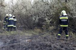 Tömlőt hosszabbítanak a tűzoltók