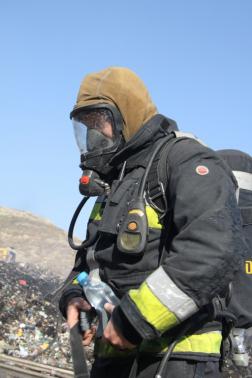 Tűzoltó légzőben